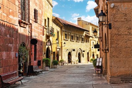 The historic center of Barcelona charms with its medieval buildings